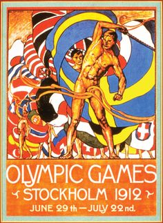 V Olympic Summer Games, Jeux Olympiques (The Olympics) Stockholm, Sweden 1912 Sports Art Print - 23 x 30 cm Old Poster, Retro Poster, Summer Games, Winter Games, Vintage Advertisements, Vintage Ads, Olympic Logo, Modern Games, Exhibition Poster