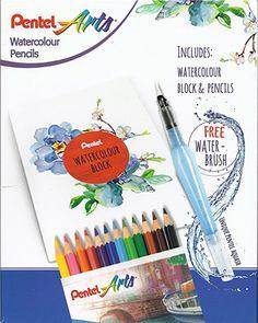 PENTEL ARTS Wassercolor Buntstifte incl. Wasserpinsel