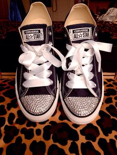 Rhinestone Converse With Ribbon Laces by ConverseCustomized, $75.00