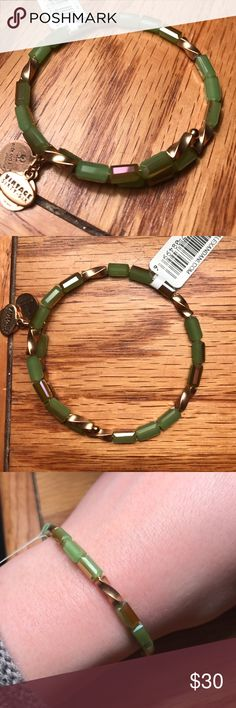 NWT Allure wrap bracelet in jade NWT and RETIRED! Alex and Ani Allure wrap style bracelet with green and gold beads on gold wire. From Vintage 66 collection. Expandable. Includes meaning card and pouch Alex & Ani Jewelry Bracelets