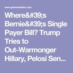 Where's Bernie's Single Payer Bill? Trump Tries to Out-Warmonger Hillary, Pelosi Sends Dems Over the Cliff -- BA Report for June 29, 2017