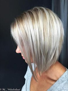 platinum angled bob with lowlights