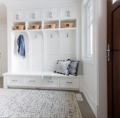 Mudroom organization you can hang your hat on from /barlowreid/. #MyHomeSense tip: use patterned, textured rugs in high traffic areas, like an entryway or mudroom, to protect floors and disguise dirt.