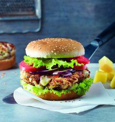 Burgers au poulet, beaufort et oignon rouge - les meilleures recettes de cuisine d'Ôdélices