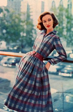 Ladies Home Journal Oct 1957 Evelyn Tripp wearing Anne Fogarty late casual day dress full skirt plaid checks blue grey black red color photo print ad vintage fashion style long sleeves 1950s Style, Vintage Outfits, Vintage Dresses, Plaid Fashion, Womens Fashion, Vestidos Retro, Moda Retro, Vintage Inspiriert, Shirtwaist Dress