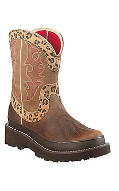 fat baby boots | Leopard Print & Tan Fatbaby Cowboy Boots by Ariat ...