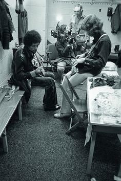 Jimi Hendrix before intro in Europe. By John