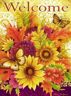 Medium Fall Flowers, Colorful Flowers, Naive, Decoupage, Welcome Images, Beautiful Gif, Annual Plants, Autumn Art, House Flags