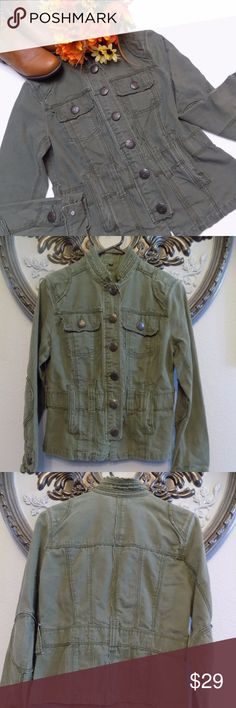Camo Green Utility Jacket Utility green jacket made of 100% Cotton. With Elbow patches. 2 side pockets and 2 front pockets. Rough Edges. Very good condition. BB Dakota Jackets & Coats Utility Jackets