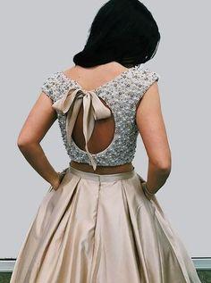 Lehenga blouse designs - Elegant Two Piece Halter Royal Blue Long Prom Dress from modsele Designer Blouse Patterns, Fancy Blouse Designs, Bridal Blouse Designs, Blouse Neck Designs, Crop Top Designs, Sleeves Designs For Dresses, Blouse Styles, Stylish Blouse Design, Lehenga Designs