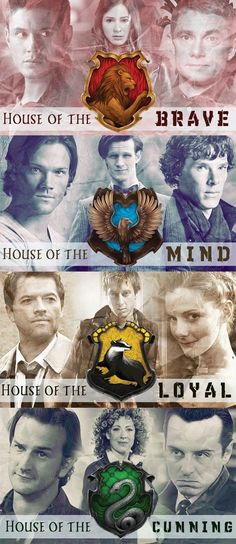 The Houses of Hogwarts, featuring the characters from Supernatural, Doctor Who, and Sherlock. | Somebody somewhere might actually have their mind implode after viewing this, likely some Brit, because of the fandom. This could be on the list of greatest geek/nerd fandom mashups, all things considered. | Follow here http://pinterest.com/cakespinyoface/geekery/ for even more Geekery-- art, tech and more!