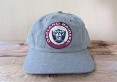57968681cabc4 OAKLAND RAIDERS Original Vintage 90s Strapback Hat Officially Licensed NFL  American Needle Dad Cap Deadstock Gray Minimal Ballcap