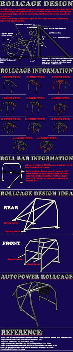Roll cage (rollcage) design in cars for racing. This illustrates multipoint designs in roll cages, starting with the roll-bar. Go Kart, Bullitt Bike, Rat Rods, Cj Jeep, Jeep 4x4, Muscle Cars, Welding And Fabrication, Trophy Truck, Suspension Design