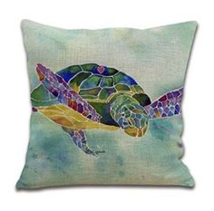 Watercolor Sea Turtle  Pillow Cover by UniikStuff on Etsy