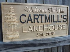 Personalized Family Name sign Carved Cabin Sign Decor Rustic Lake House Sign Custom Wooden Sign 12X23 Custom Wedding gift Plaque Christmas. $84.95, via Etsy.