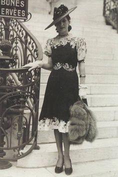 A snapshot of historical fashion, Paris, 1930s.