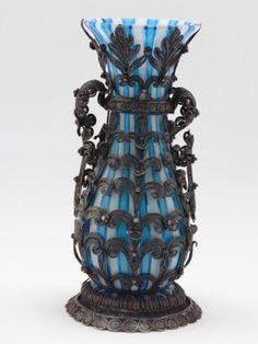 Vaso cristal francês, multi cor, filigrana de prata. Al..