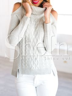 Shop Grey Long Sleeve Cold Shoulder Sweater online. SheIn offers Grey Long Sleeve Cold Shoulder Sweater & more to fit your fashionable needs.