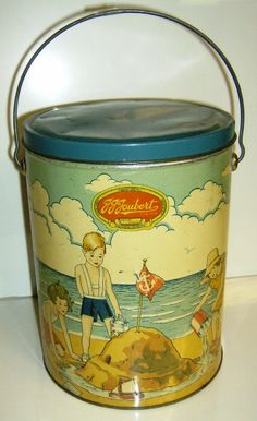 1 Gallon ice cream container designed to be used as a childs sandpail when empty.