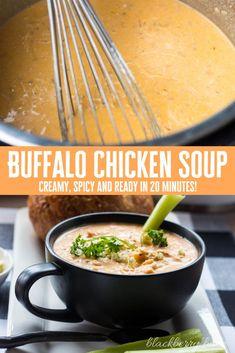 Chicken Wing Soup Recipe, Spicy Chicken Soup, Buffalo Chicken Soup, Chicken Chowder, Spicy Soup, Recipes Using Bacon, Best Soup Recipes, Chowder Recipes, Pork Recipes