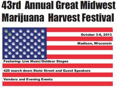 The 43rd Harvest Fest in Madison, WI is a two-day affair. Bands and speakers will entertain the crowd until the 4:20 march on Sunday to the Capitol.