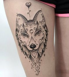 50 Of The Most Beautiful Wolf Tattoo Designs The Internet Has Ever Seen - KickAss Things Feminine Tattoos, Girly Tattoos, Trendy Tattoos, Love Tattoos, Beautiful Tattoos, Body Art Tattoos, Small Tattoos, Tatoos, Wolf Tattoo Design
