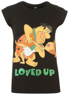 "Ladies THE FLINTSTONES FRED & WILMA ""Loved Up"" Retro T-Shirt - BNWT"