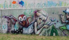 """Graffiti im Rhein-Main-Gebiet, in Bad Vilbel """"Neue Mitte""""... Kunstprojekt mit Schülern der Europäischen Schule Rhein Main"""