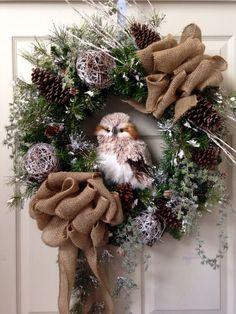 Woodsy Snow Owl Wreath