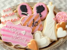 Wedding Cookies White Pink Gold Engagement Cookies Wedding Gift Wedding Cake Cookie
