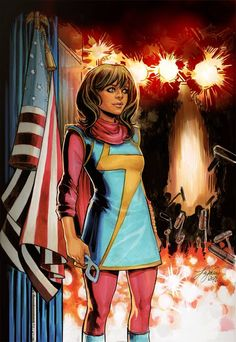 Ms. Marvel #8 Civil War Reenactment variant cover by Siya Oum *