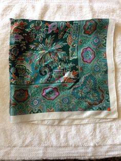 """Liberty of London, silk. Greens with purple, off-white and tan. 23"""" square."""