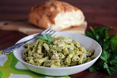 Pasta & White Beans with Broccoli Pesto. eight ingredients and I have almost all of them. How yummy!