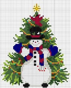 новогодние схемы - дед мороз, елки,подарки
