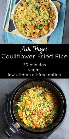 It is so easy to make air fried cauliflower rice in the air fryer! You can follow this recipe exactly or mix-and-match your own veggies to suit your tastes.
