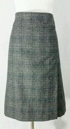Guy Rover Italia Wool Blend Velvet Checkered Plaid Gray Skirt EUR 40/US 8 Italy  #GuyRover #ALine