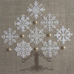 Cute Cross-Stitch Winter Snowflake Tree