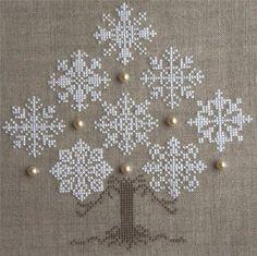 Cute Cross-Stitch Winter Snowflake Tree