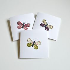 Paper Embroidery Patterns Butterfly greetings cards, little pieces of fabric stitched using freehand machine embroidery handmade by Stitch Galore Embroidery Cards, Free Motion Embroidery, Learn Embroidery, Embroidery Stitches, Hand Embroidery, Embroidery Ideas, Needlepoint Stitches, Fabric Cards, Fabric Postcards