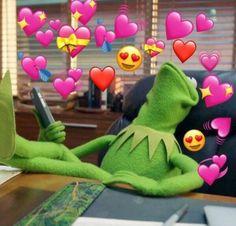 kermit the frog with hearts 100 Memes, Dankest Memes, Funny Memes, Sapo Kermit, Baby Popo, Sapo Meme, Memes Lindos, Frog Meme, Heart Meme