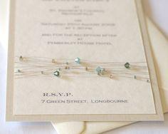 Cymbeline crystal wedding stationery - sage green