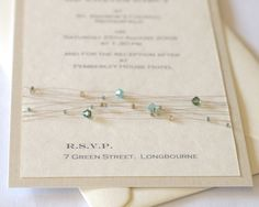 Cymbeline crystal wedding stationery - sage green