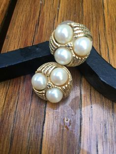 Vintage  Large round Goldtone Faux pearl stud by TheHavenFinds