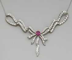 A belle époque diamond, ruby and platinum topped gold necklace, Tiffany & Co,