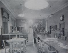 Our main reading room in 1916 doesn't look much different today. A children's room and additional book stacks downstairs were added in the 2004 addition and renovation. 100 years at the Farms!