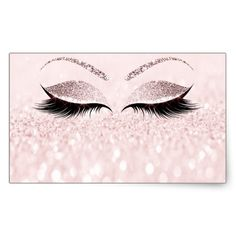 Eyelash Extension Makeup Beauty Salon Pink Glitter Rectangular Sticker