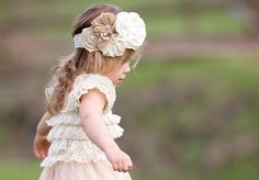 Vintage & Chic This Headband Is Perfect For Any Rustic Event  Variety Of Chic Burlap & Lace Flowers With Stunning Embellishments Made On Ivory Lace Elastic  Perfect To Pair With One Of Our Dresses Or Bloomers  Images By EllieBelly Photography,PA  {Like Us On Facebook & Receive 15% Off Your First Purchase} Please Message Us On Facebook For Coupon Code! https://www.facebook.com/CountryCoutureAndCompany   -CHECK SHOP ANNOUNCEMENT OR SHIPPING TAB FOR CURRENT SHIP TIME & READ SHOP POLICIES…