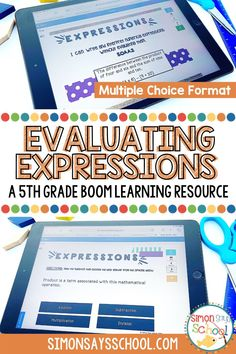 Are your fifth grade students learning about expressions and equations? These 5th grade math Boom cards are a great way to get your upper elementary math students evaluating expressions in a fun and engaging way. This resource is great for 5th grade distance learning, as it is a digital math resource! #5thgrademath #5thgradedistancelearning #mathdistancelearning #expressions #expressionsandequations