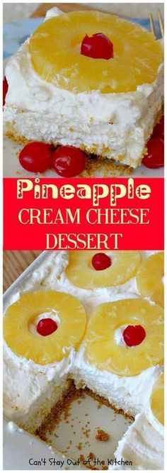 Pineapple Cream Cheese Dessert Can't Stay Out of the Kitchen fabulous made with a graham cracker crust, a & gelatin layer, then it's topped with Cool Whip & pineapple slices. Great dessert for pineapple lovers. Brownie Desserts, Oreo Dessert, Dessert Bars, No Bake Desserts, Layered Desserts, Great Desserts, Mini Desserts, Delicious Desserts, Delicious Cupcakes