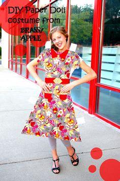#BrassyApple: #DIY girls Halloween #Costume - paper doll